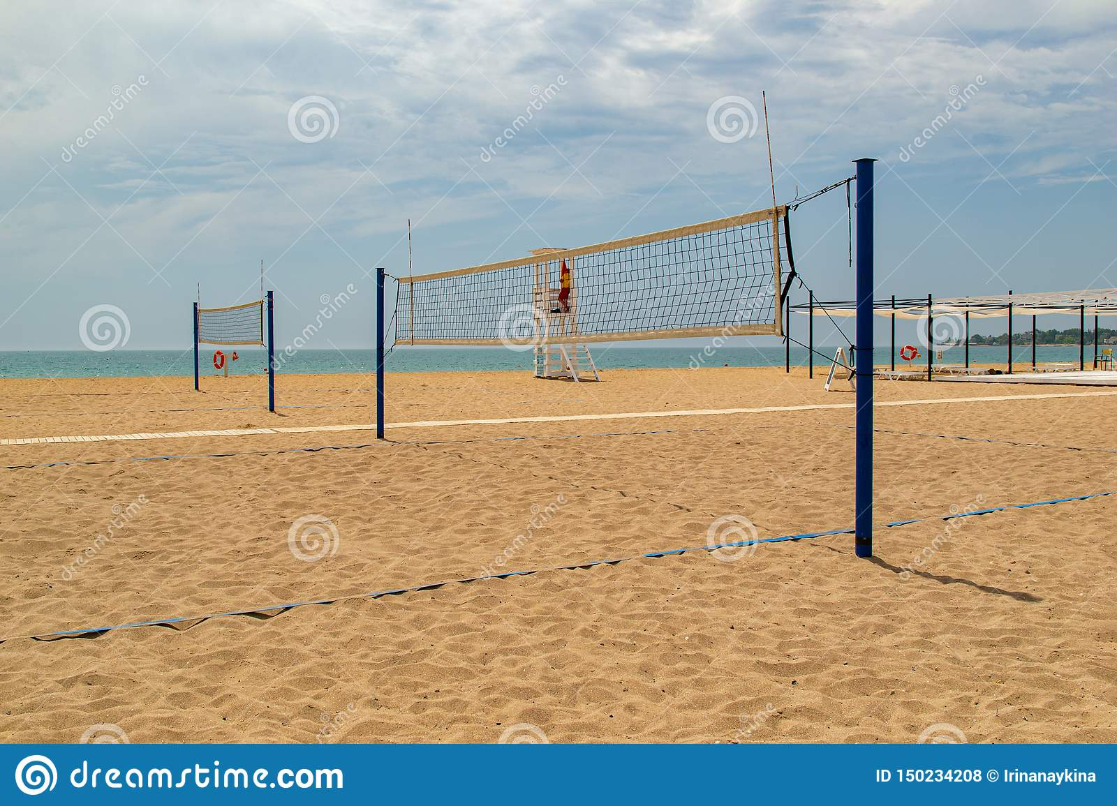 Beach Volleyball Volleyball Court On The Beach Stock Photo Image Of Athlete Relaxation 150234208