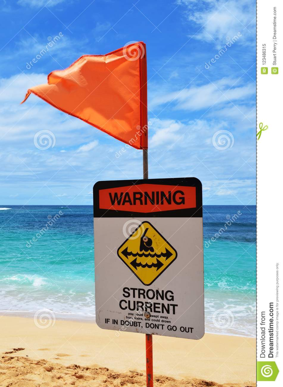 Beach warning sign strong currents