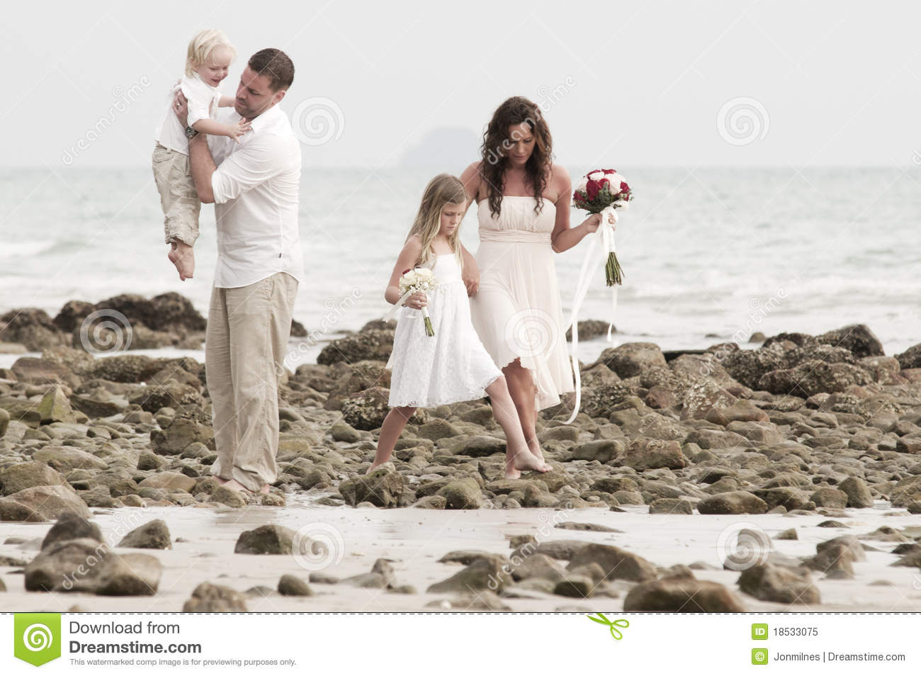 Beach Wedding With Bride Groom And Children Royalty Free Stock Photo