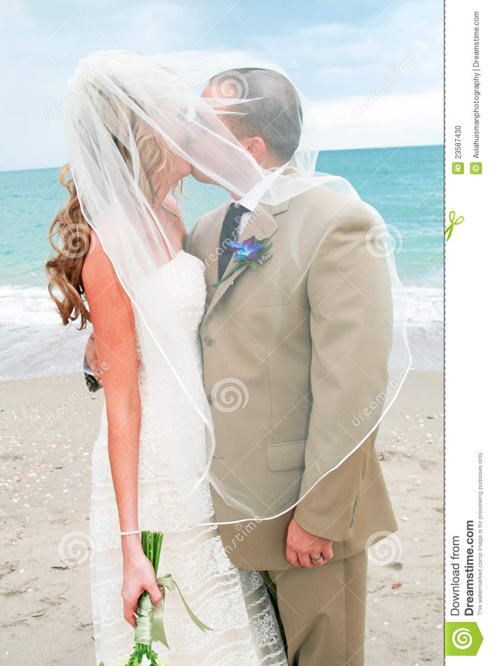 Beach Wedding: Bride And Groom Kiss Stock Photo - Image ... Traditional Wedding Vows