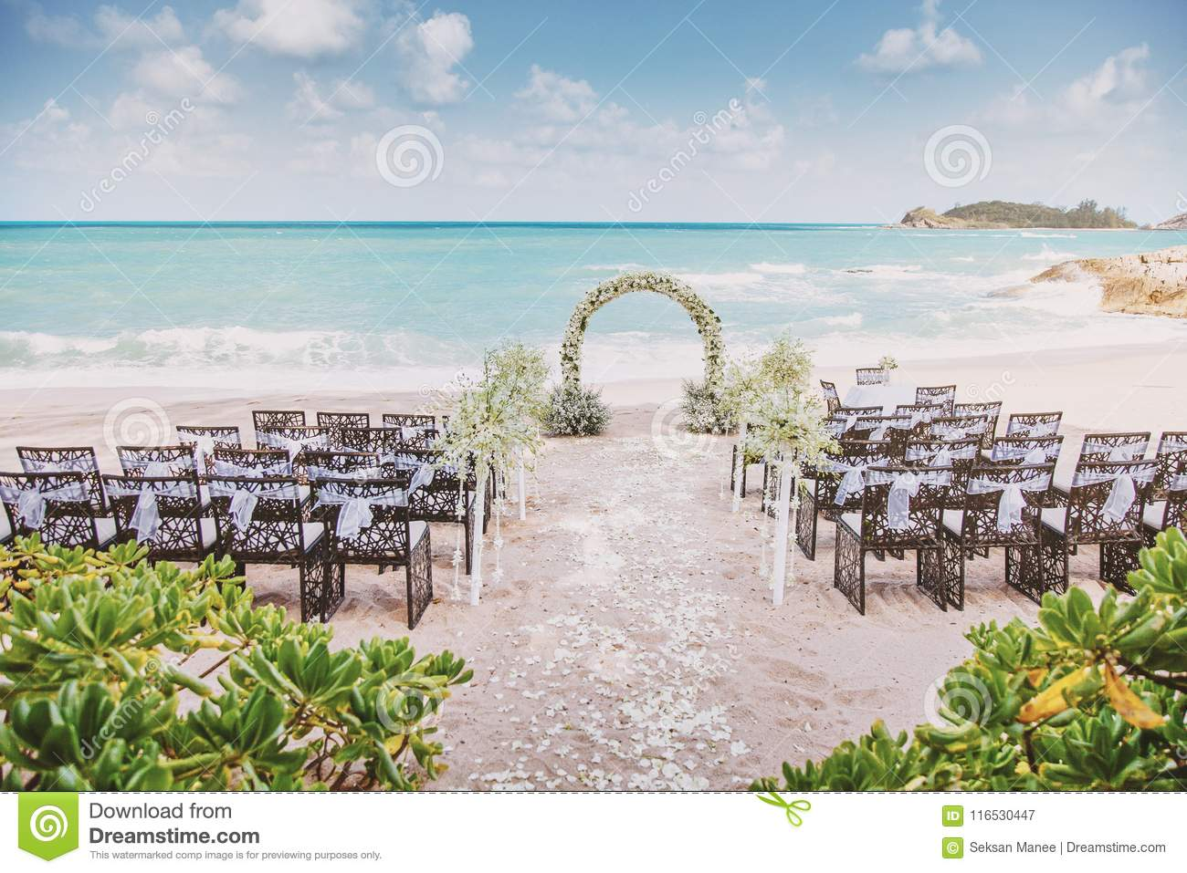 Beautiful Beach Wedding Venue Setting With Flowers, Floral