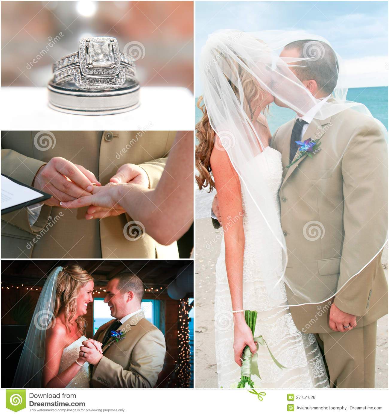 Beach Wedding Collage Royalty Free Stock Image - Image: 27751626