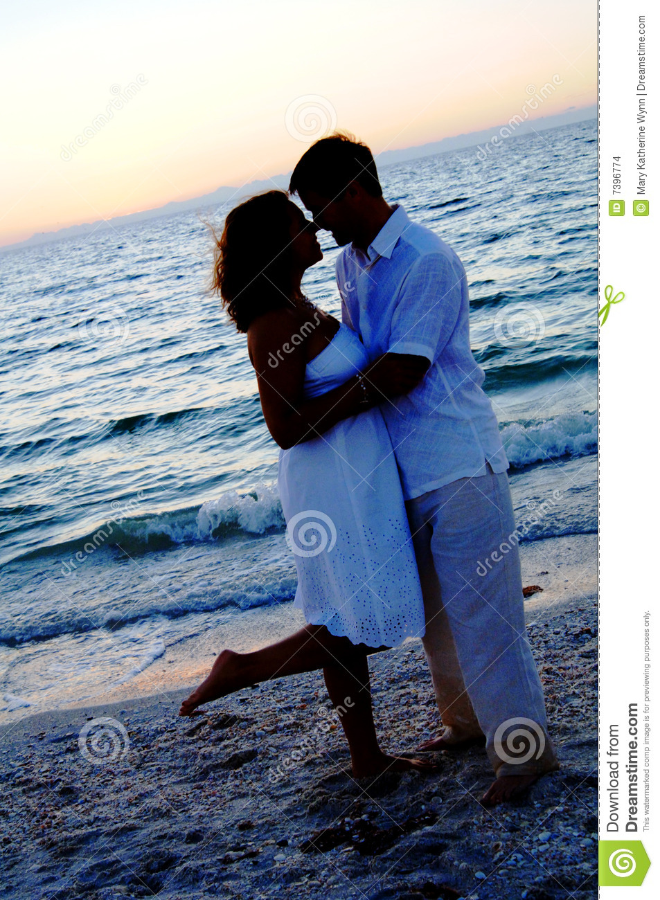 Beach Wedding Couple Silhouette Stock Images Image 7396774