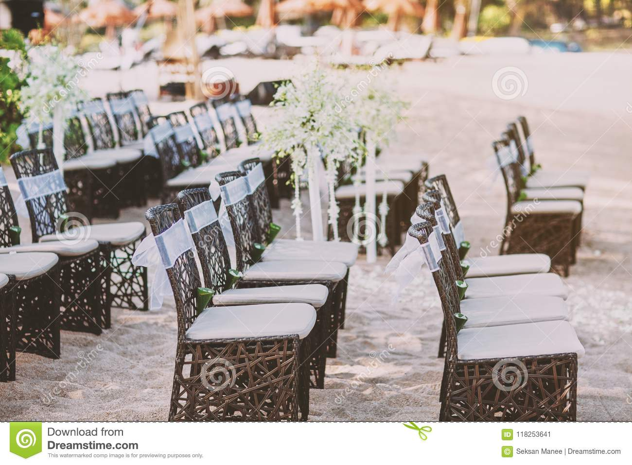 Beach Wedding Wooden Chairs Arrangement For Wedding Venue On The Sand Stock Image Image Of Beach Guest 118253641