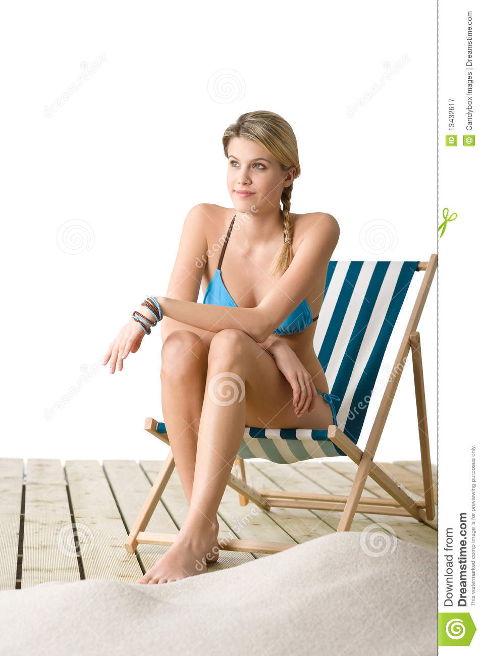 Beach - Woman In Bikini Sitting On Deck Chair Royalty Free Stock ...