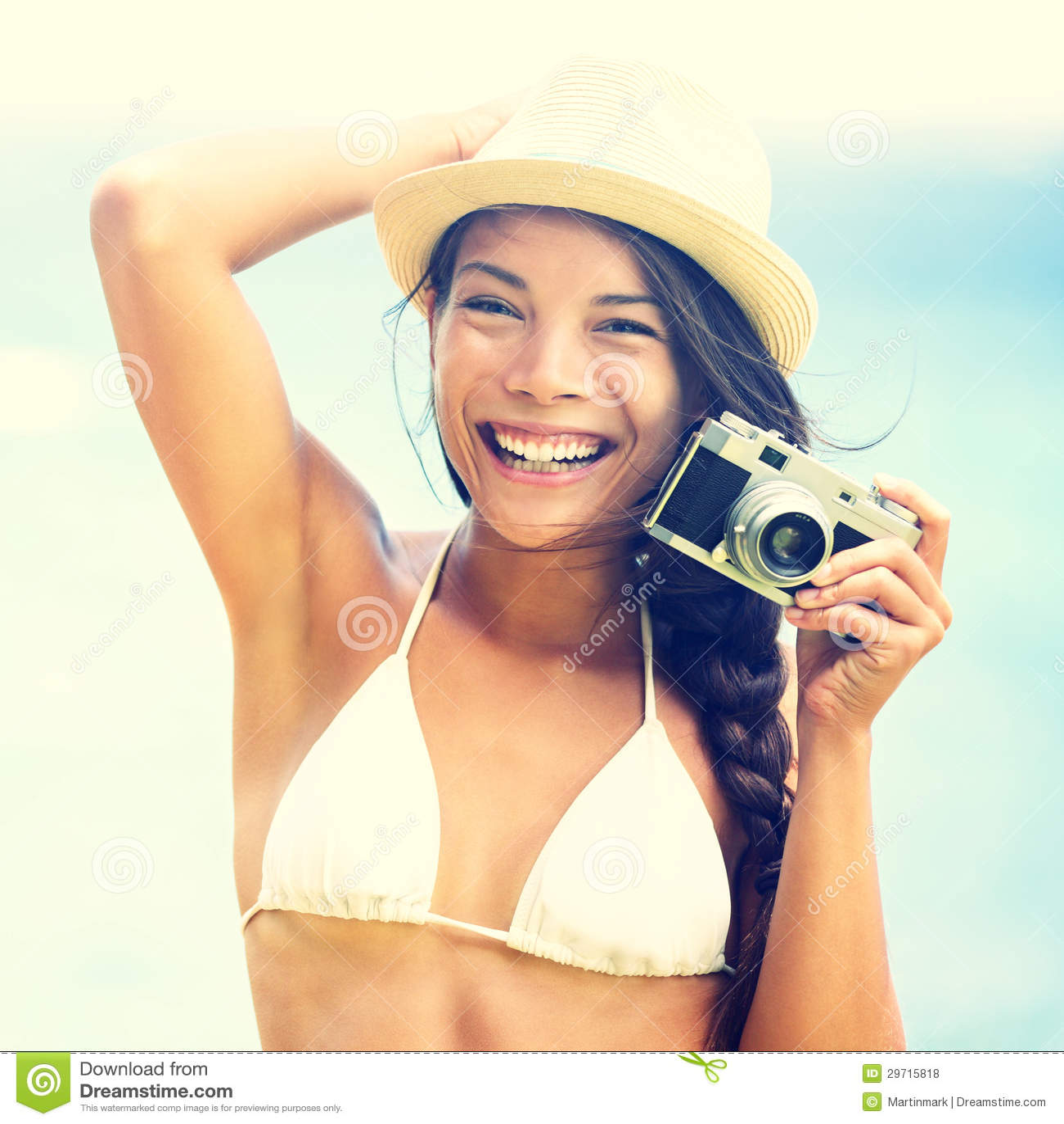 Beach Woman With Vintage Retro Camera Stock Photo