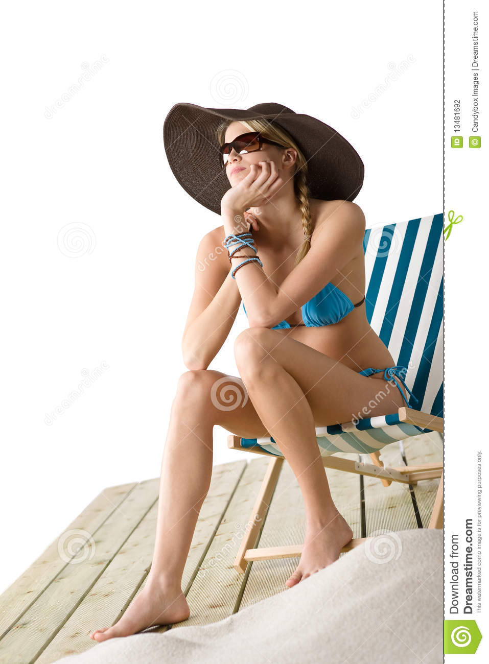 Beach - Young Woman In Bikini Sit On Deck Chair Stock ...