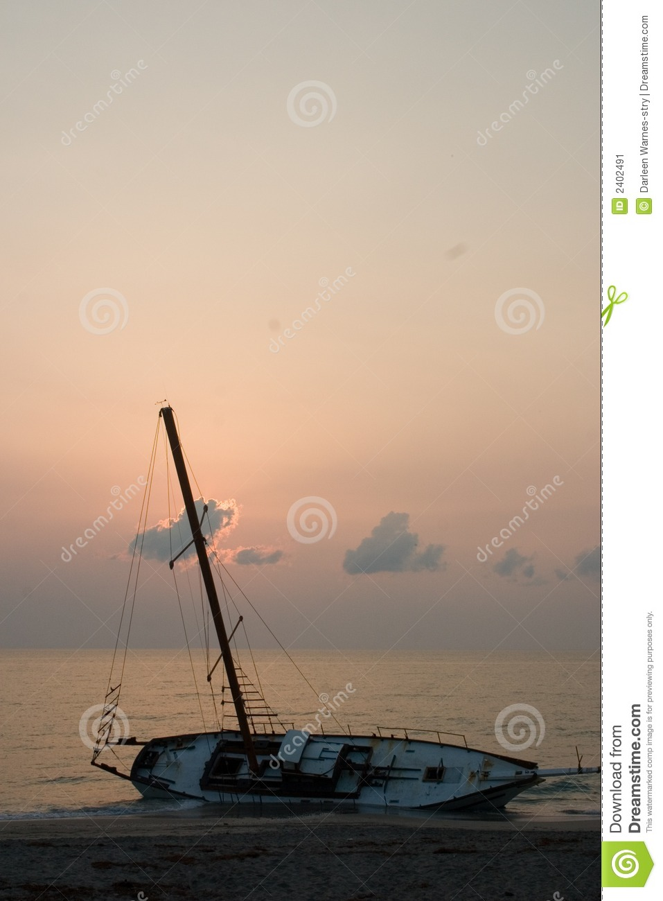 Beached Sailboat Shipwreck II Stock Image - Image of