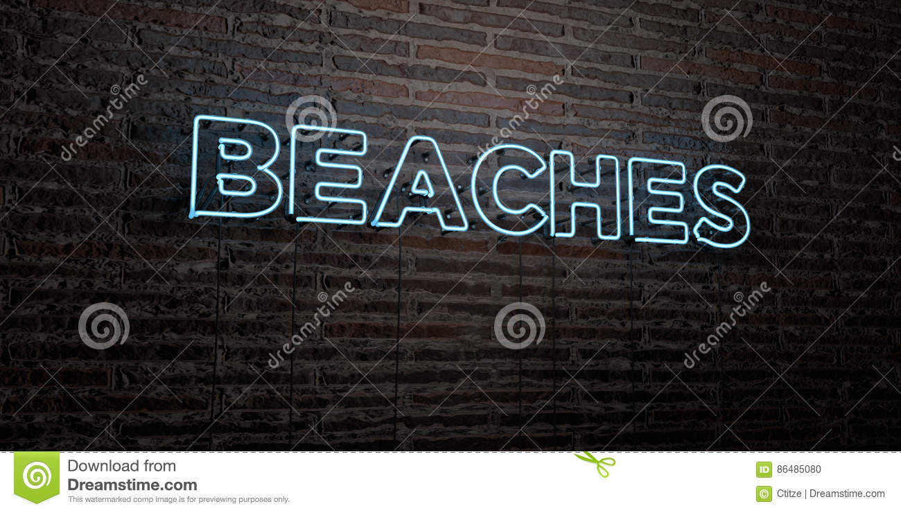 BEACHES -Realistic Neon Sign on Brick Wall background - 3D rendered royalty free stock image