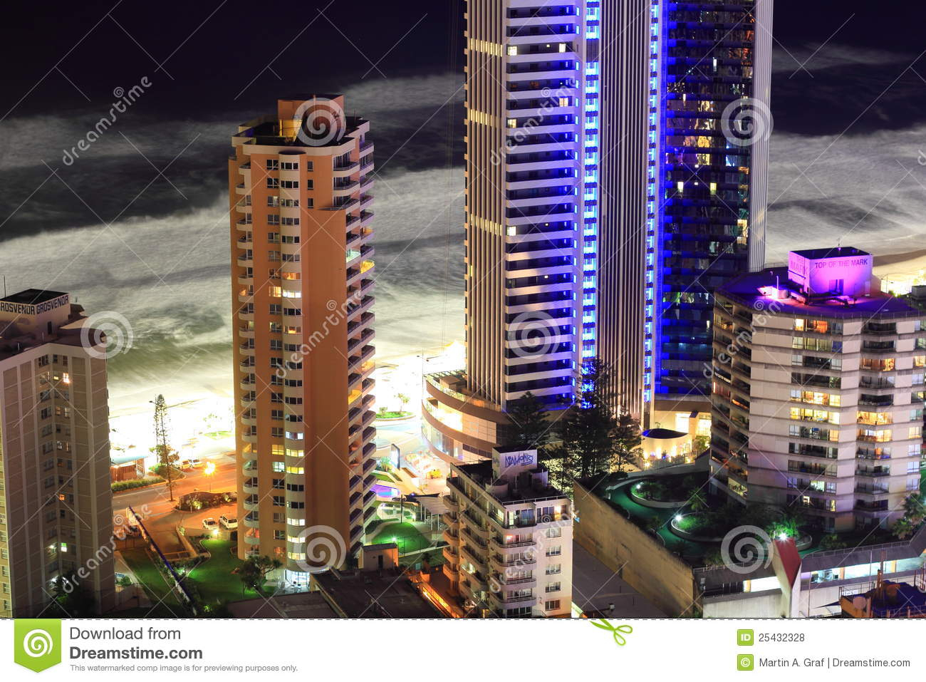 Beachfront tower buildings aerial view at night