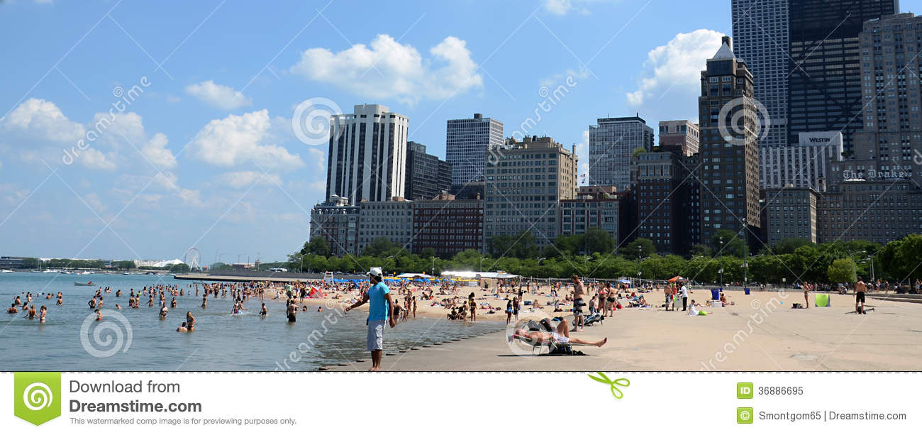 Download Beachgoers Alla Spiaggia Dell'Ohio, Chicago Immagine Editoriale - Immagine di vacanza, weekend: 36886695