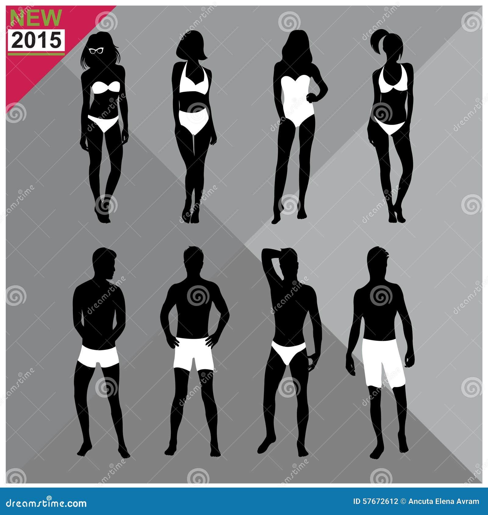 Beachwear, Swimwear swimsuits lata ubioru kobiet mężczyzna/czernią sylwetki editable, ustalony, kolekcja