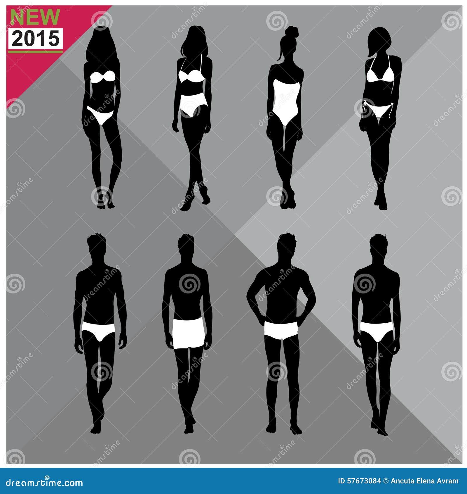 Beachwear, Swimwear swimsuits lata ubioru kobiet mężczyzna/czernią sylwetki, set, kolekcja