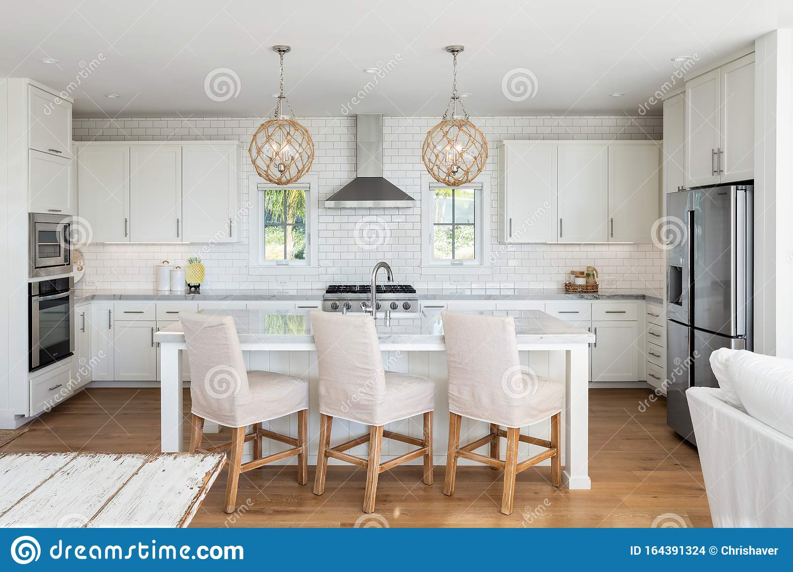 Beach Residential Kitchen Design With Wood Floors Editorial Stock Image Image Of High Beachy 164391324