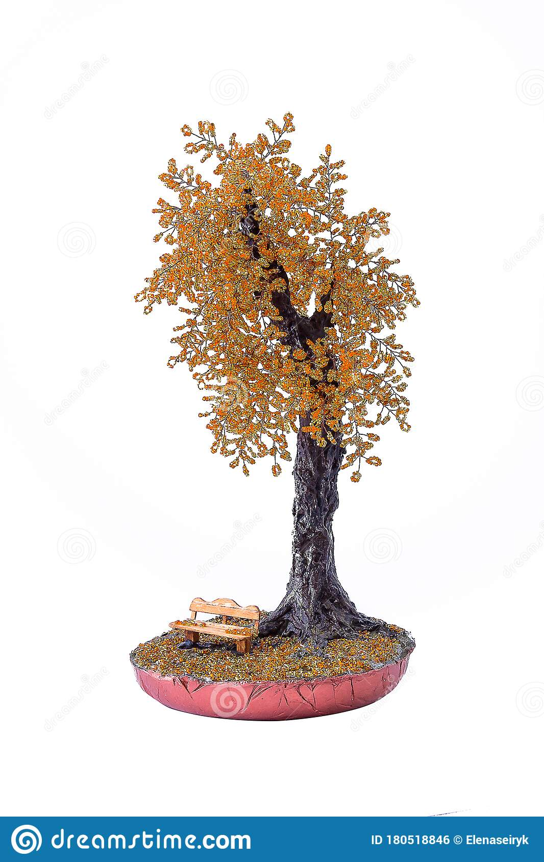 Beaded Bonsai Tree With Decorative Bench Under It Handmade Souvenir Isolated On White Stock Photo Image Of White Bench 180518846
