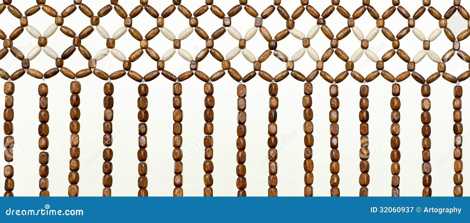 Beaded Curtain Wood Bead Closeup Royalty Free Stock Photography