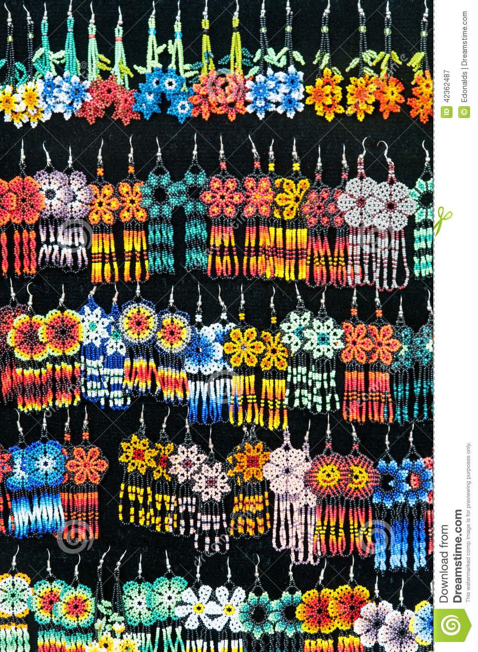 Beaded Earrings Stock Photo - Image: 42362487 Black And Silver Background