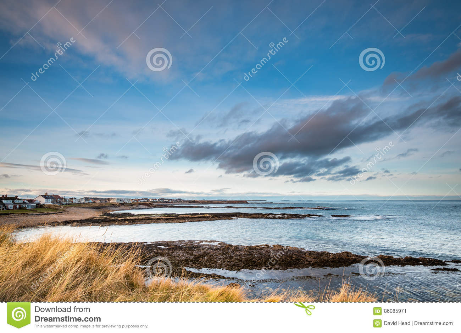 Beadnell Village Shoreline stock image  Image of coastal
