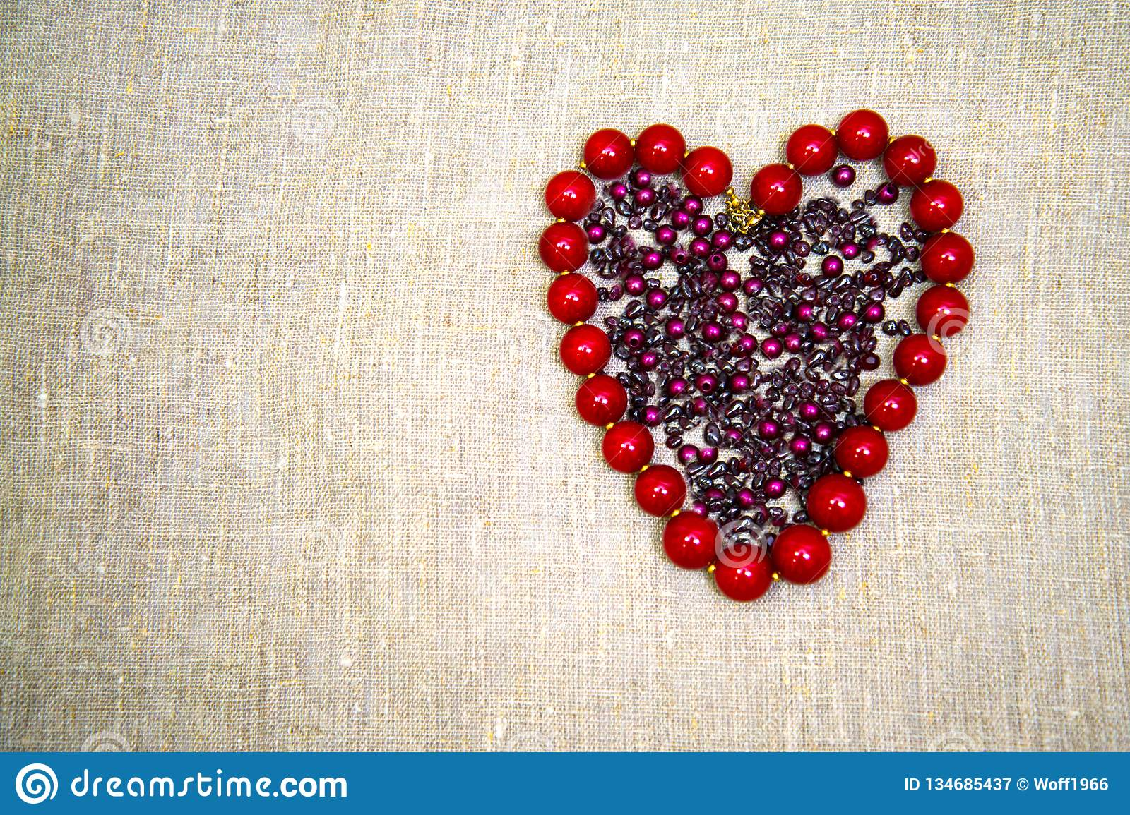 Beads in the shape of a heart