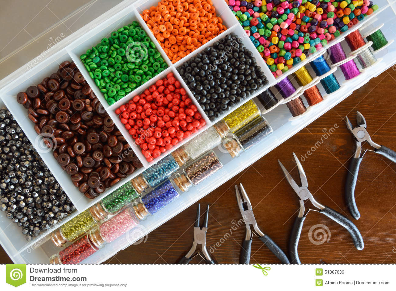 Beads and wire crafts stock photo. Image of container - 51087636