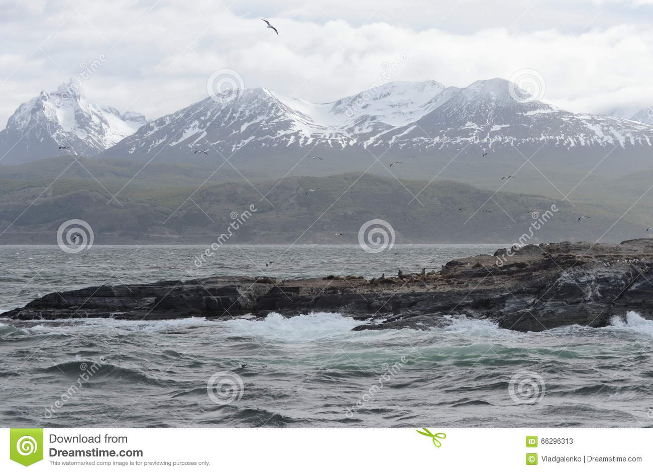 Download The Beagle Channel Separating The Main Island Of The Archipelago Of Tierra Del Fuego And Lying To The South Of The Island. Stock Image - Image of waves, south: 66296313