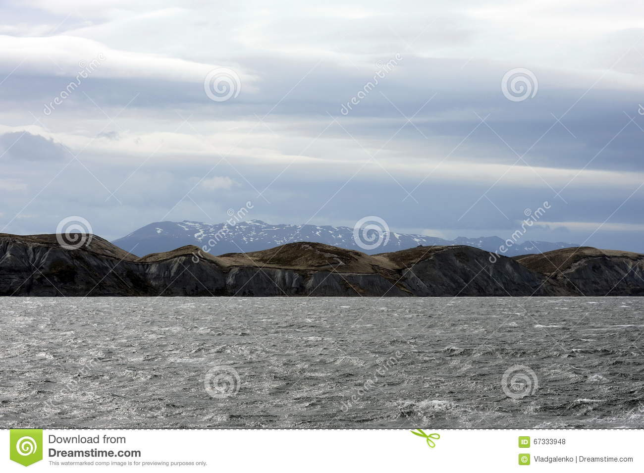 The Beagle channel separating the main island of the archipelago of Tierra del Fuego and lying to the South of the island.