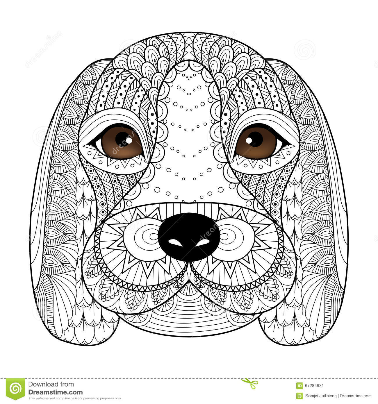 Puppy Line Art For Coloring Book Adult T shirt Design Tattoo And