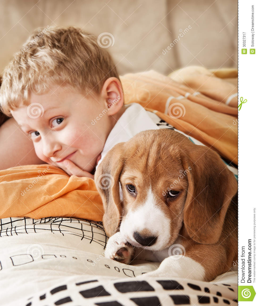 Boy Sleeping With Pet Dog In Bed Cartoon Vector