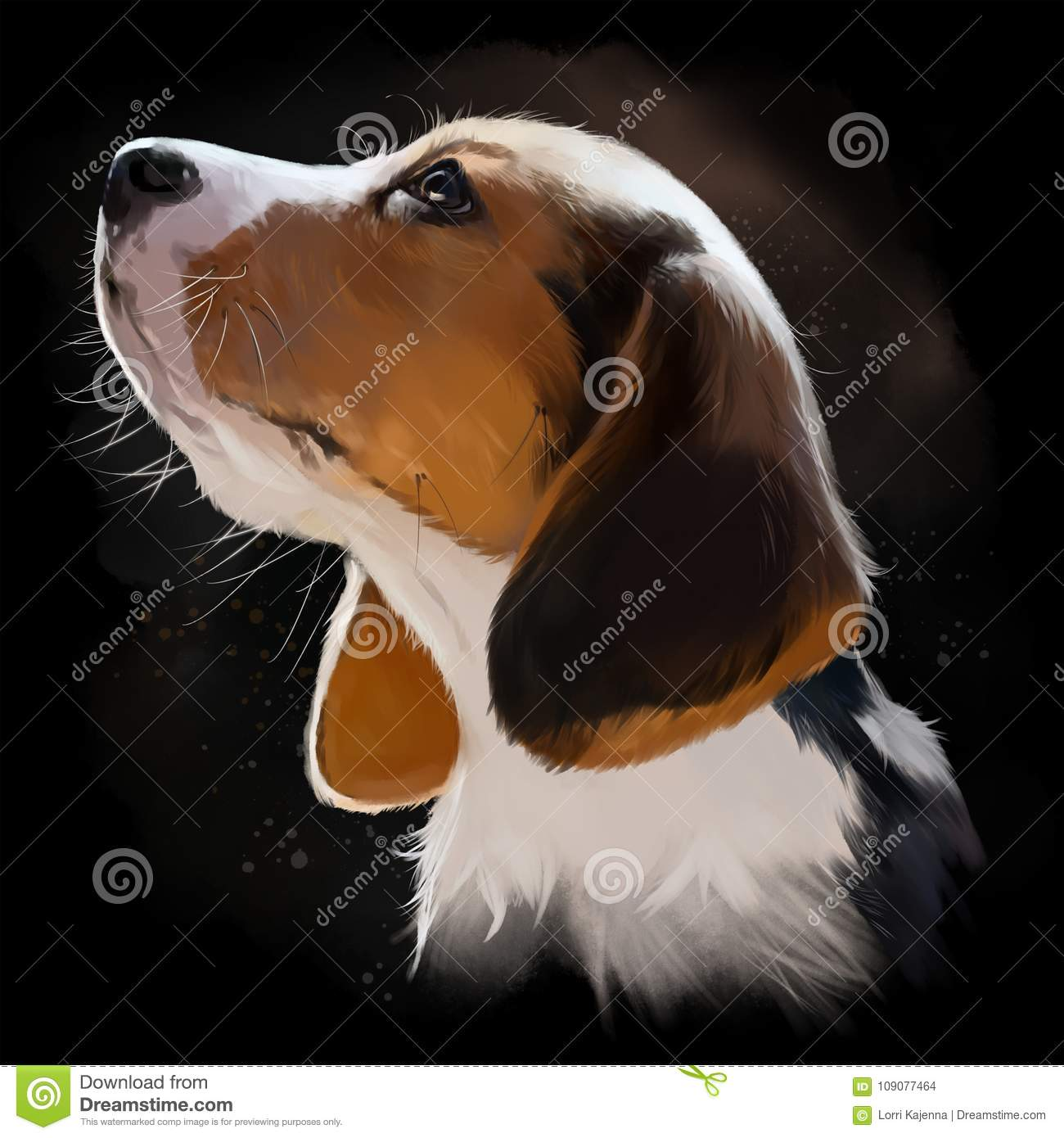 Beagle Puppy Portrait Watercolor Painting Stock Illustration Illustration Of Watercolor Portrait 109077464