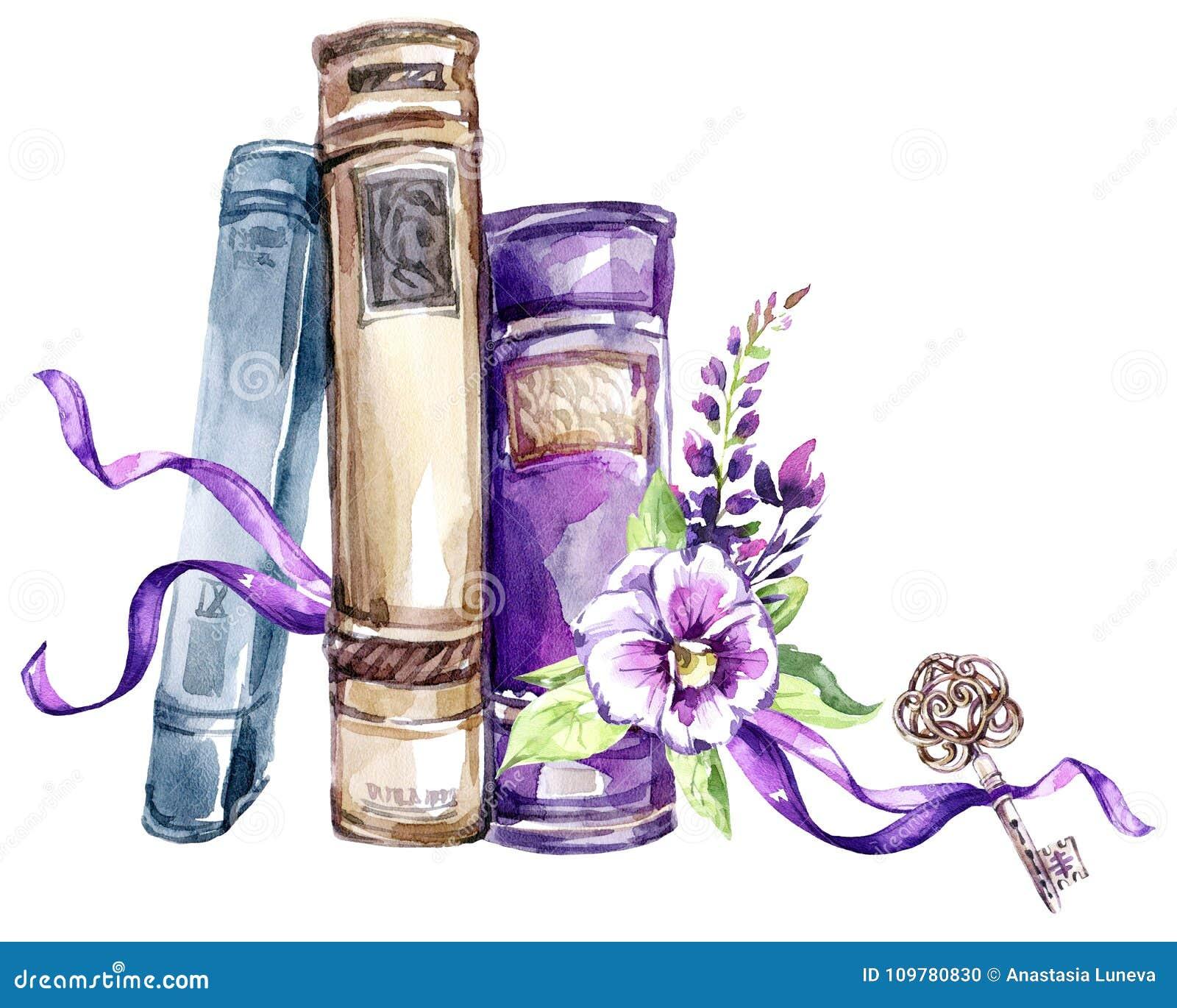 Beak dekoracyjnego latającego ilustracyjnego wizerunek swój papierowa kawałka dymówki akwarela Stos stare książki z łękiem, pansi