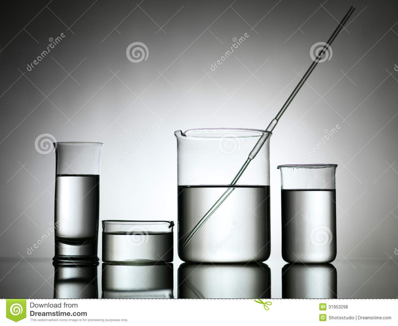 Beakers With Dropper And Transparent Liquid Substance