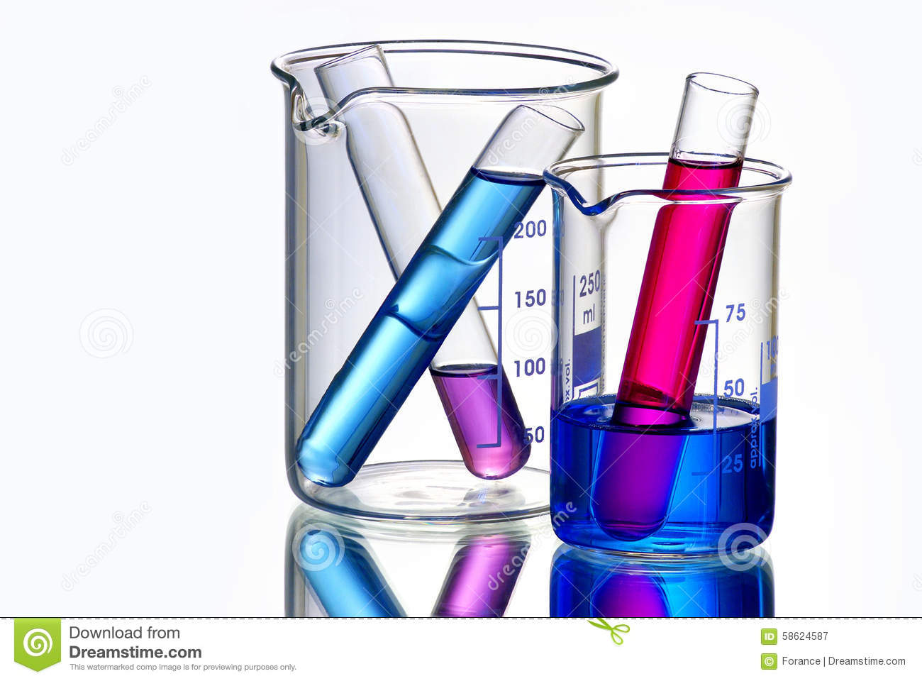 Beakers With Test Tubes Filled With Chemicals Stock Photo ...