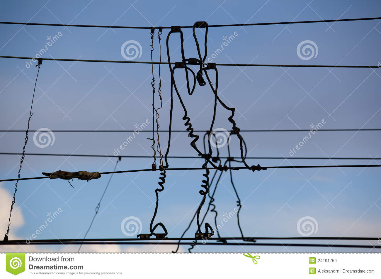 The beam catenary wires stock image. Image of voltage - 24191759
