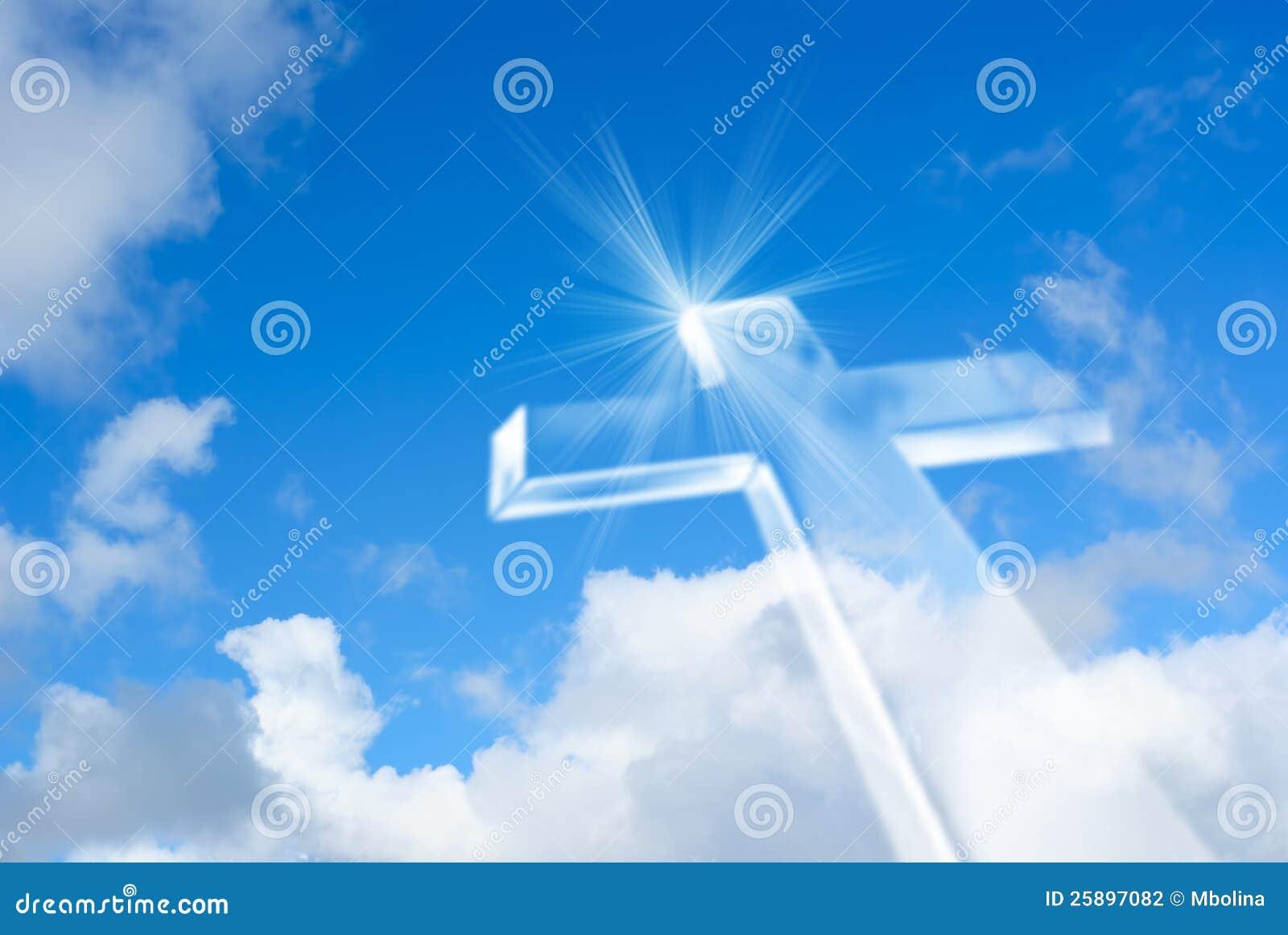 Beaming Bright White Cross In Heaven Stock Photo Image