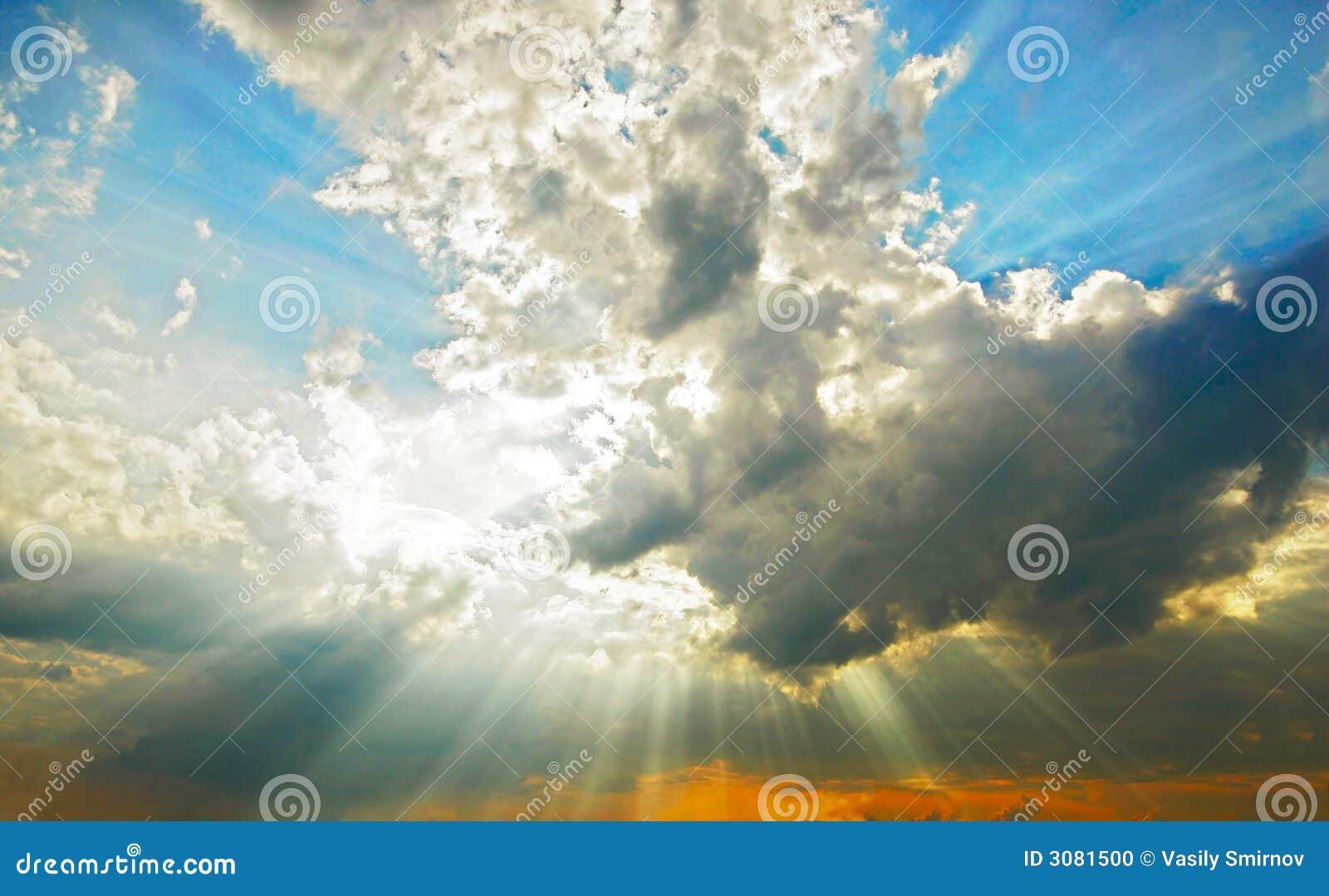 Beams through clouds