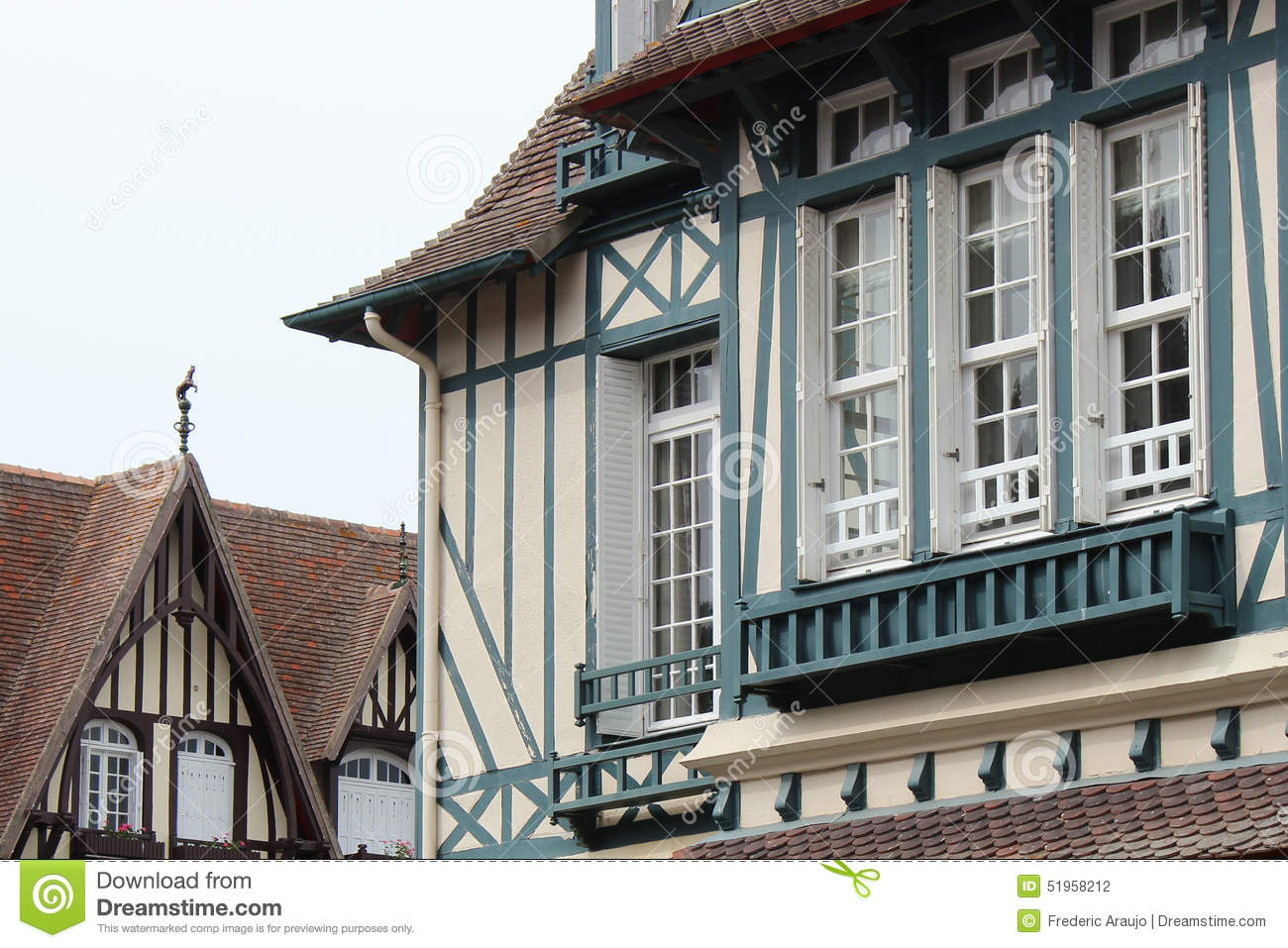 Beams painted in blue decorate the facade of a house situated in Deauville (France)