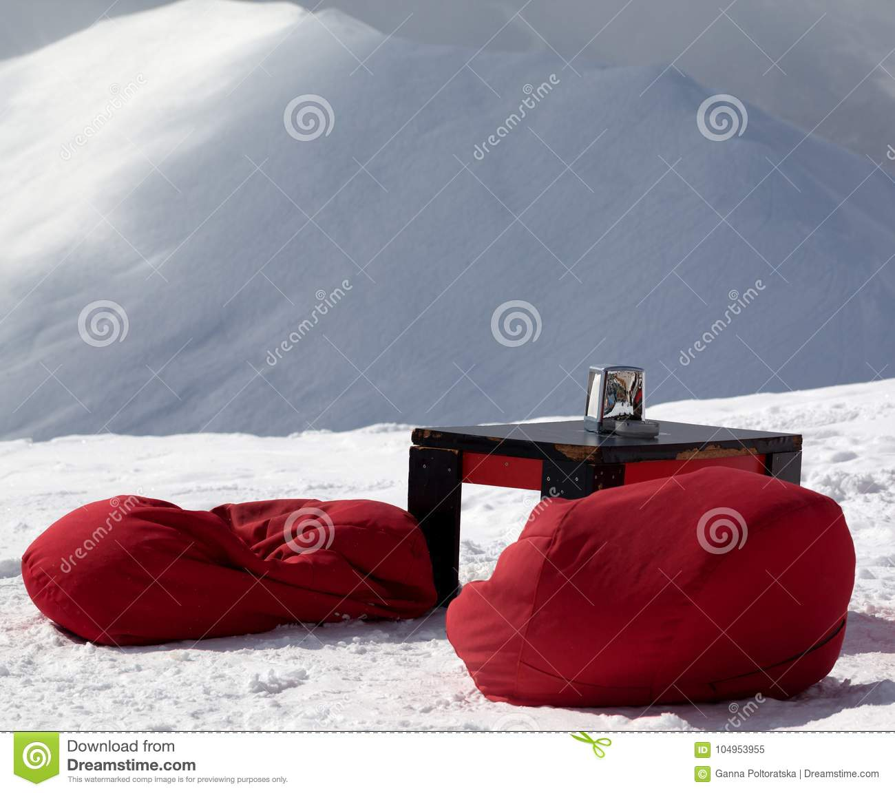 Download Bean Bag Chairs And Table In Outdoor Cafe At Ski Resort Stock  Image   Image