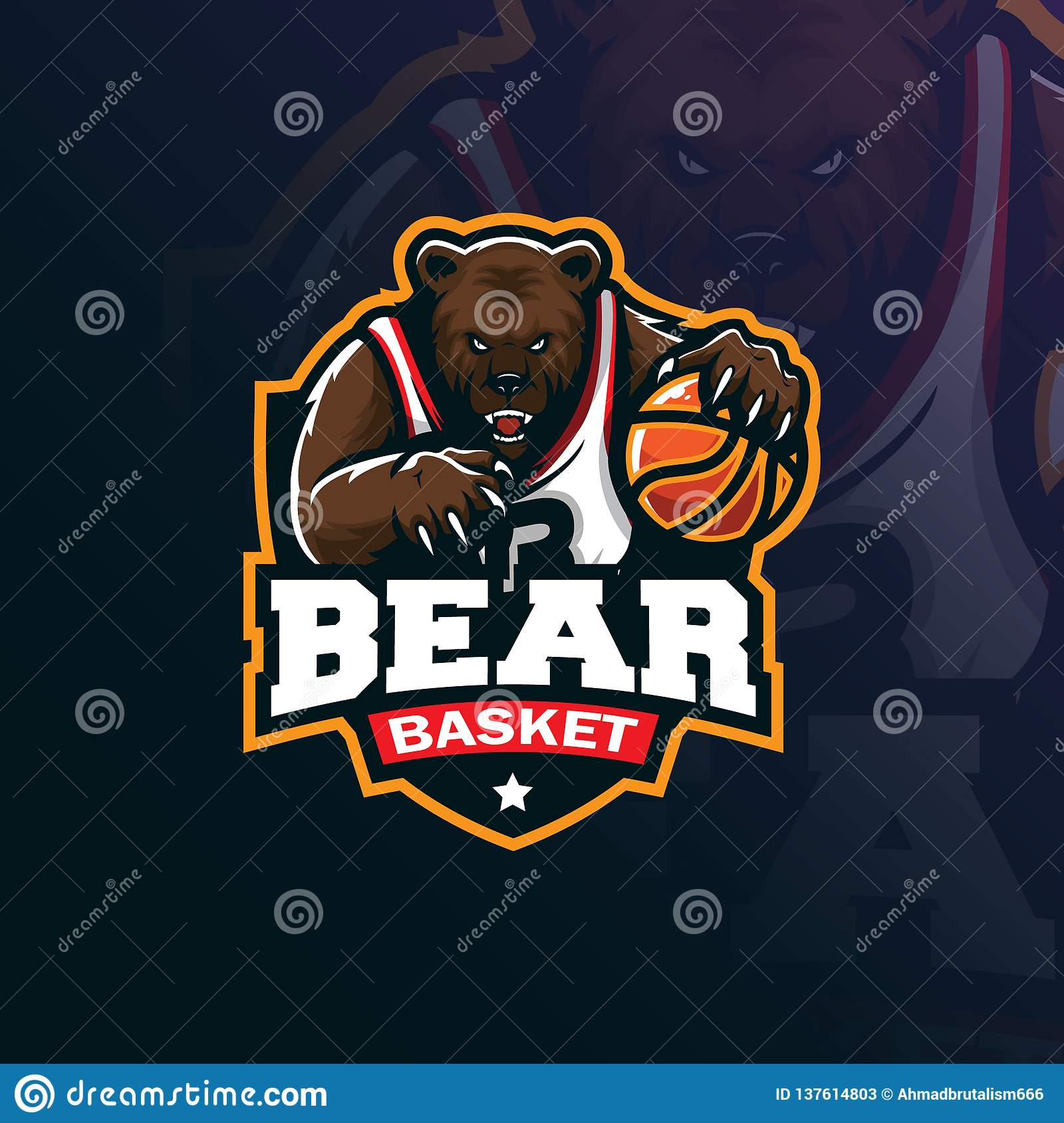 Bear basketball mascot logo design vector with modern illustration concept style for badge, emblem and tshirt printing. angry bear