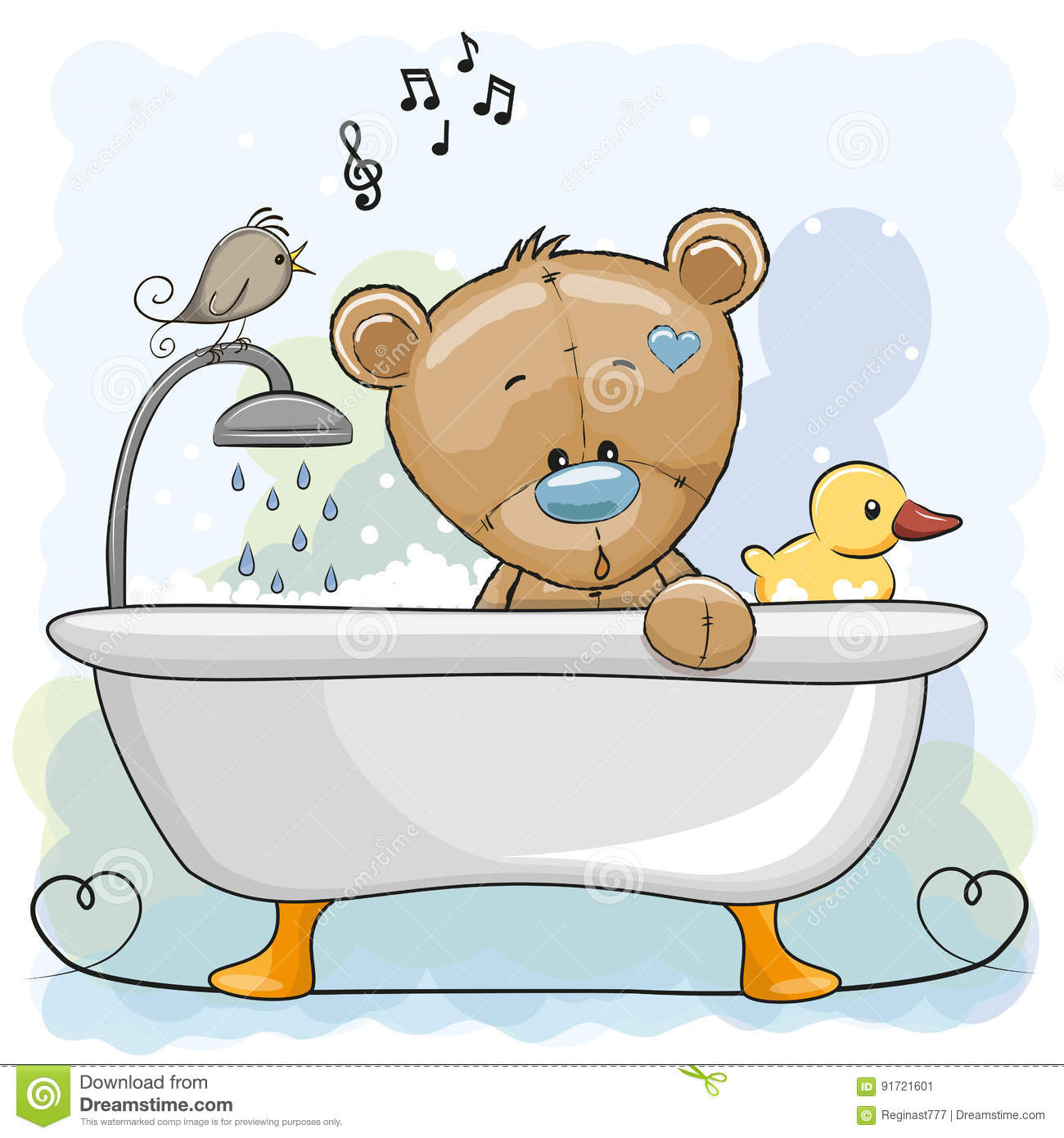 Cartoon Pictures Of Bathrooms: Bear In The Bathroom Stock Vector