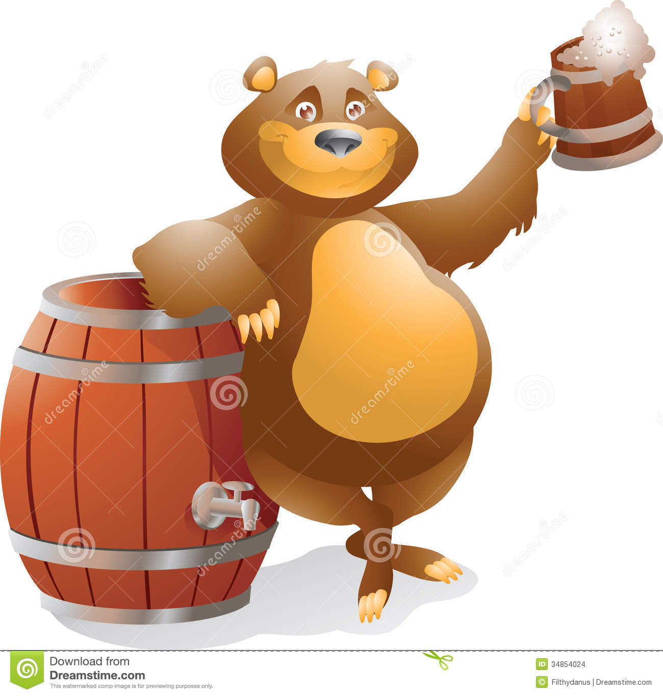 Bear With Beer Smiling Stock Images Image 34854024