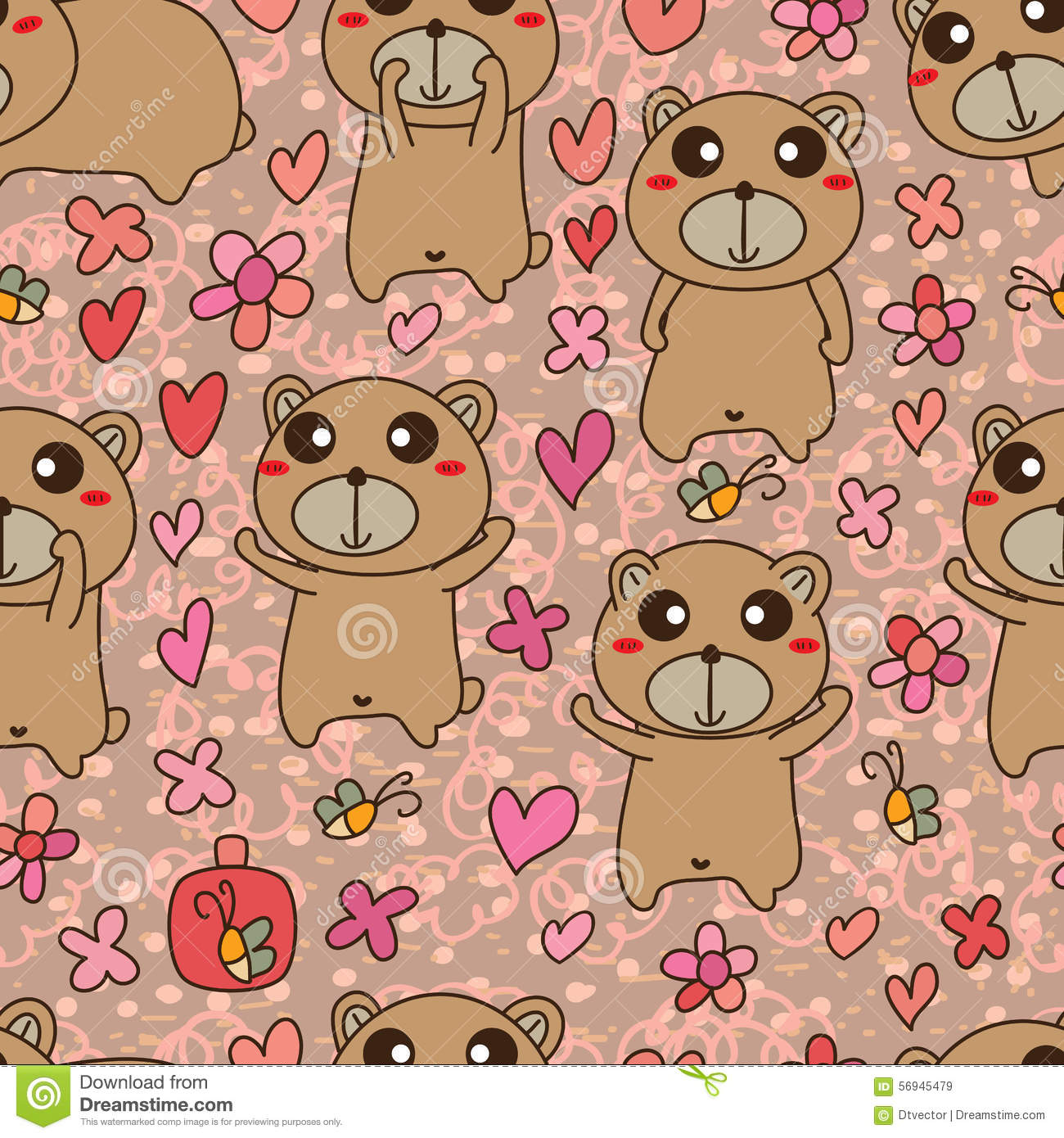 Bear Brown Cute Small Seamless Pattern Stock Vector