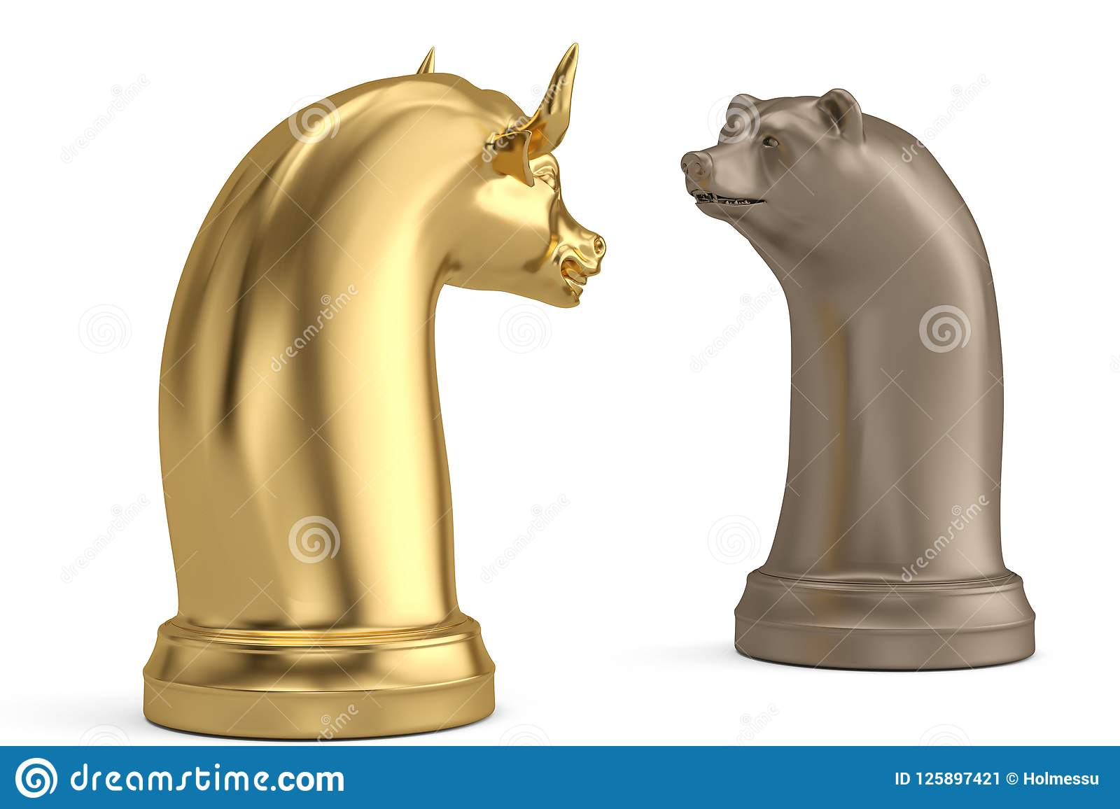 Bear and bull chess piece on white background.3D illustration.