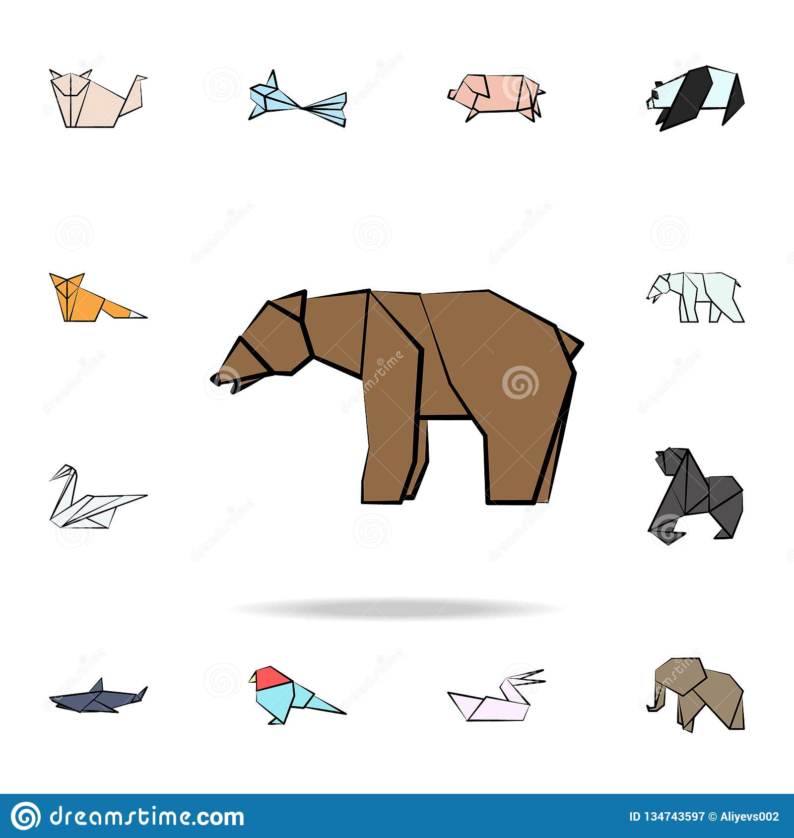 bear colored origami icon. Detailed set of origami animal in hand drawn style icons. Premium graphic design. One of the collection