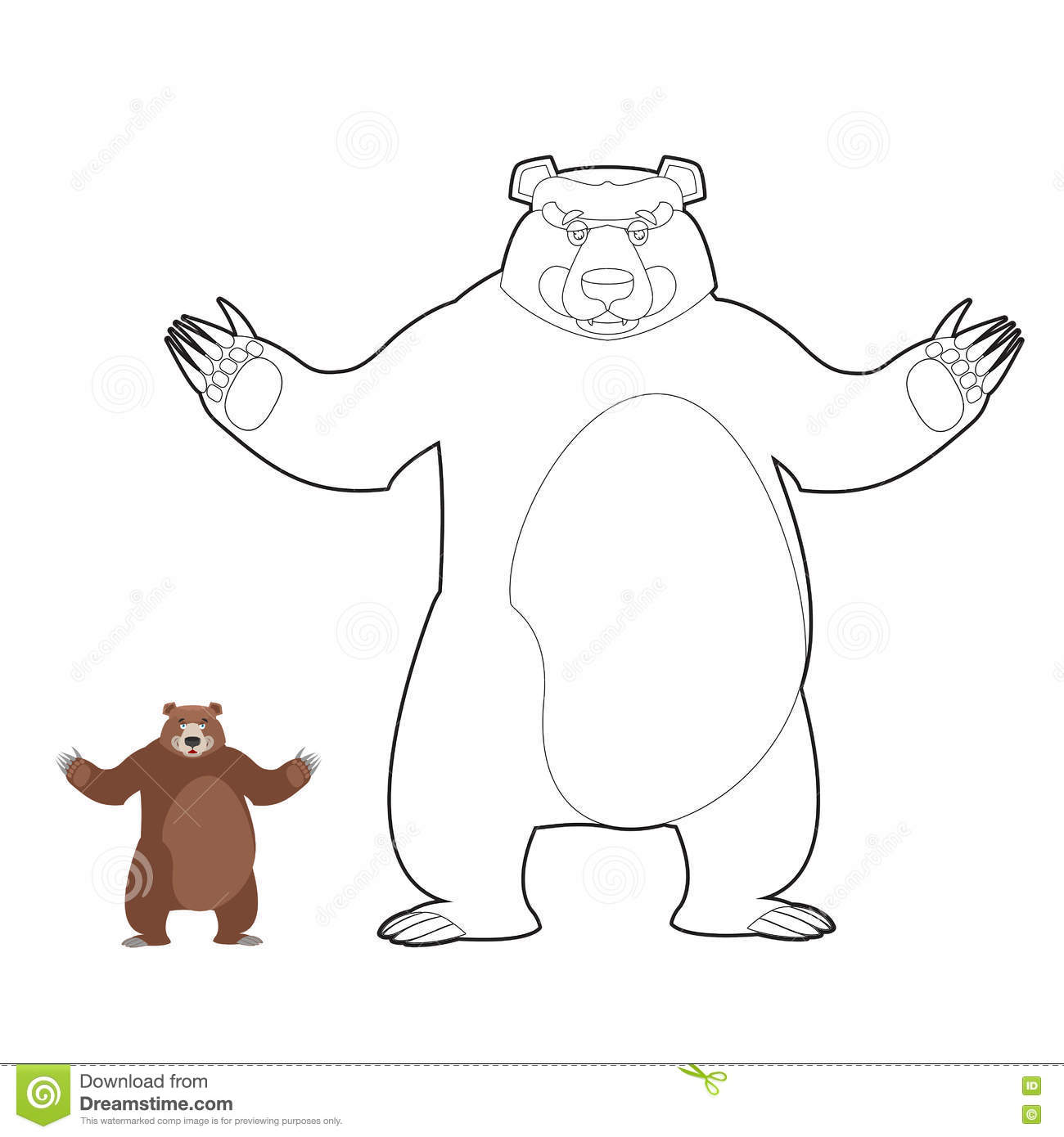 Bear Coloring Book. Grizzlies In Linear Style. Good Happy Wild B ...