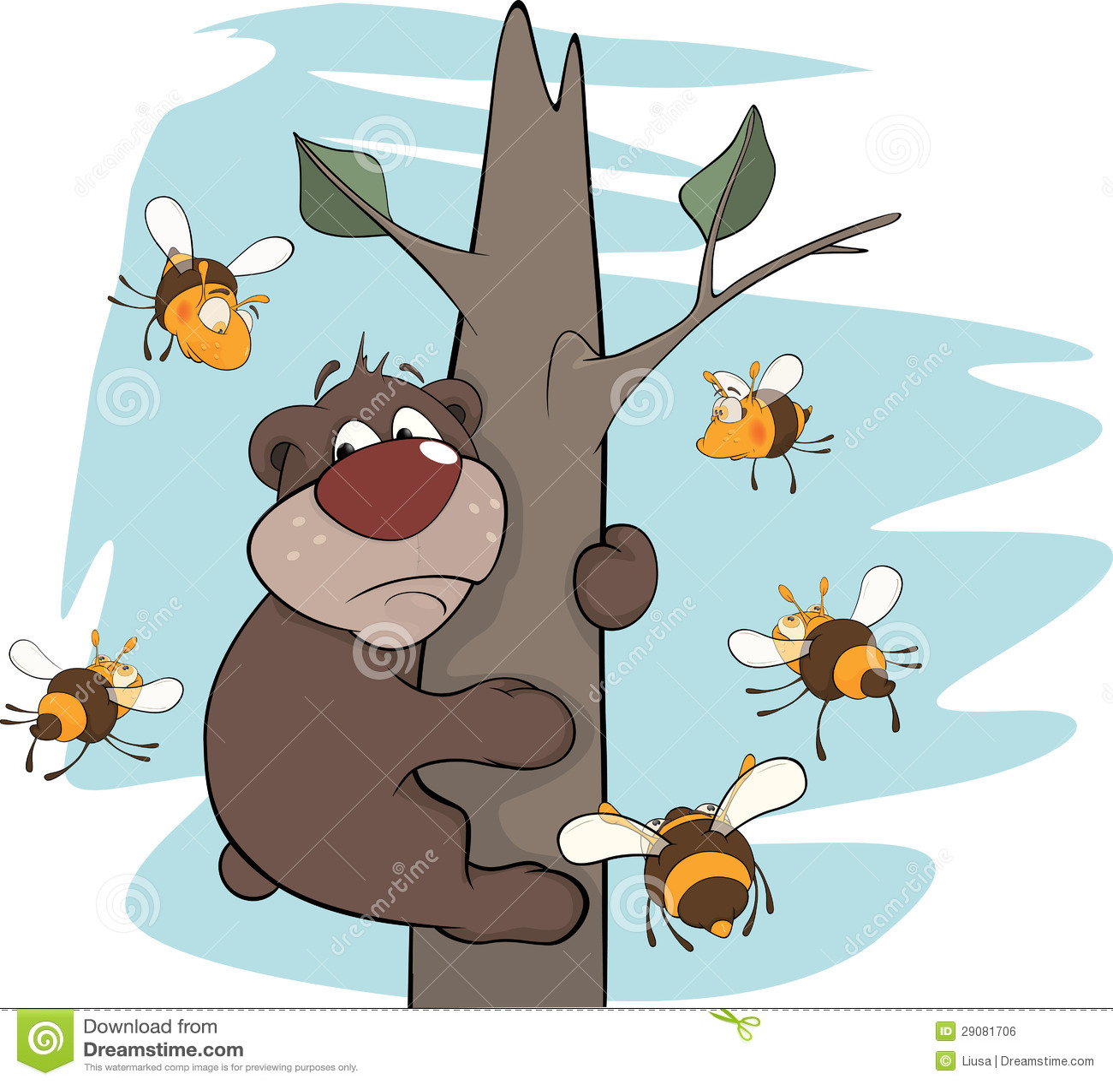 Bear Cub And Bees. Cartoon Royalty Free Stock Image ...