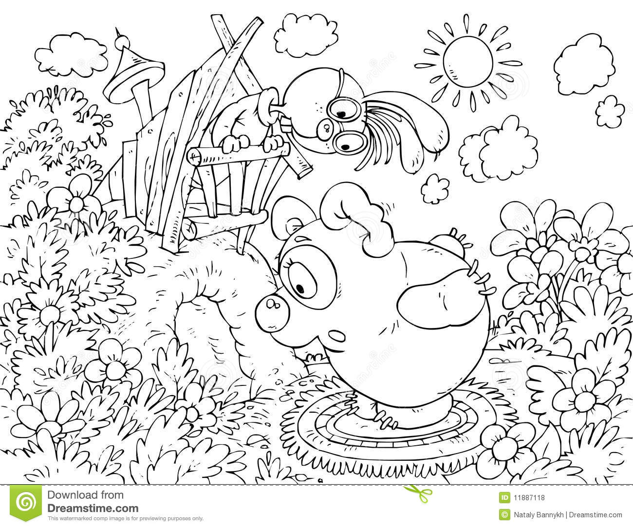 bear-cub calling the rabbit sitting in his hole stock illustration