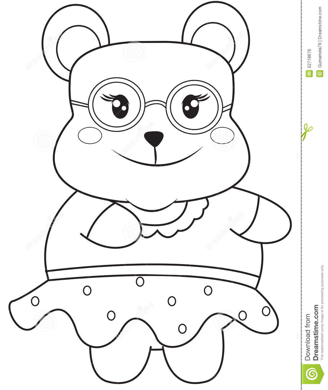 Bear With Eyeglasses Coloring Page
