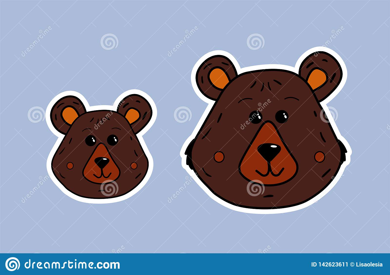 Bear Family Mama Bear And Little Bear Vector Cute Face In White Contour Cartoon Illustration Of The Muzzle Of The Animal Funny Stock Vector Illustration Of Cute Background 142623611