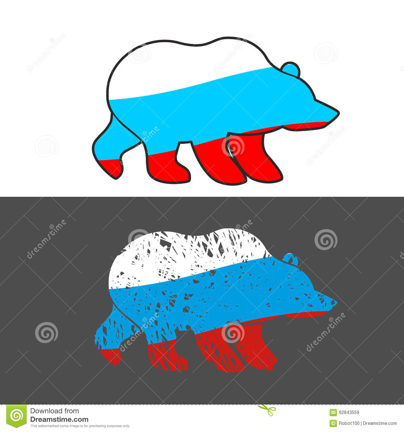 russian bear with russian flag stock vector image 62856659