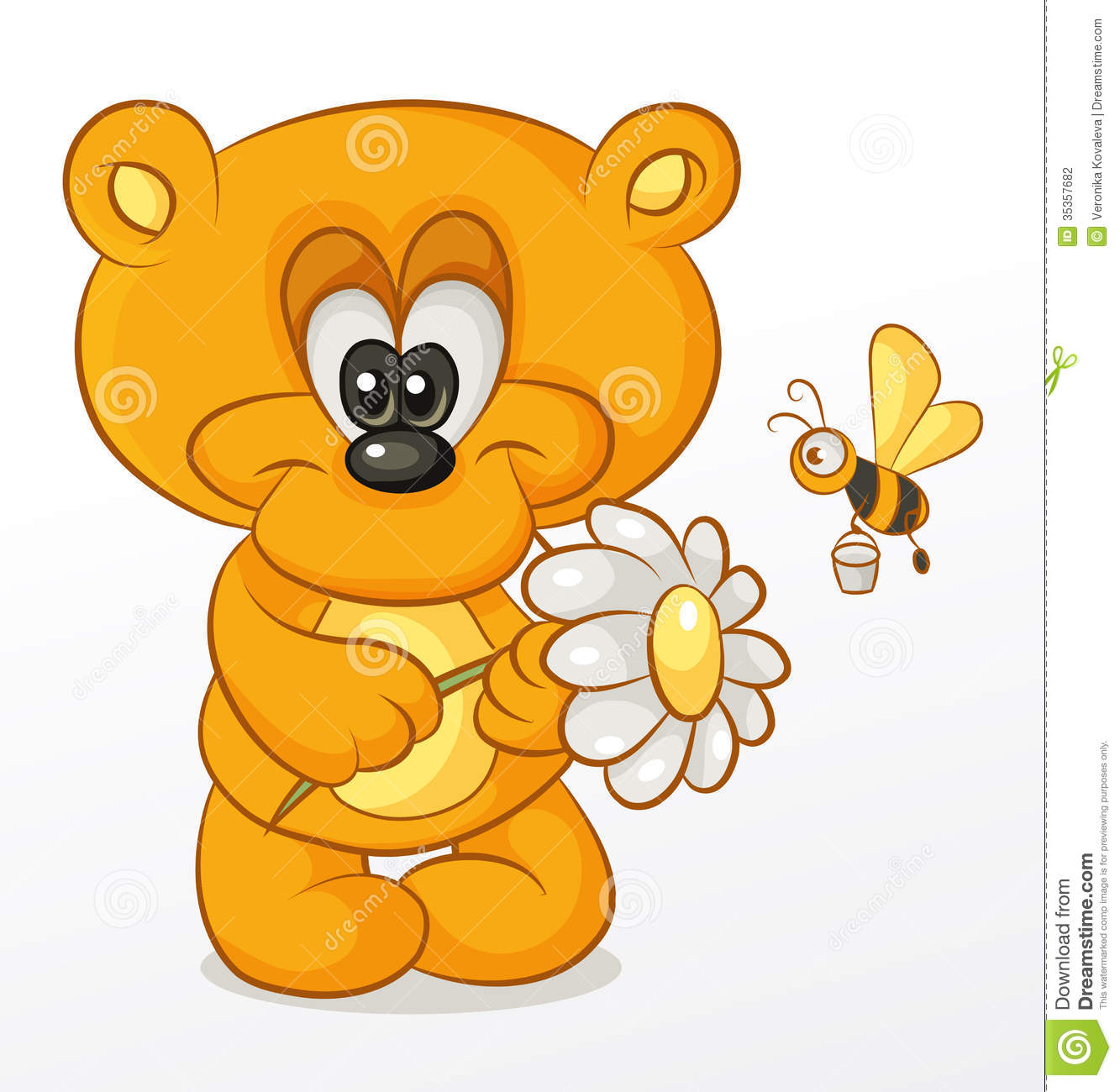 Bear with Flower stock vector. Illustration of insect ...